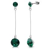 "316L Kirurginteräs Korvakorut ""4&7mm Round Emerald CZ Long Drop Stud Earrings"""