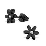 """316L Kirurginteräs korvakorut """"Blacksteel Flower"""""""