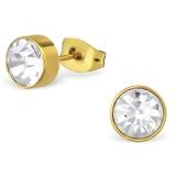 "316L Kirurginteräs korvakorut ""Jeweled Round Gold"""