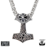 "Northern Viking Jewelry-Riipus ""Tribe Cross Black Silver Thor's Hammer"""