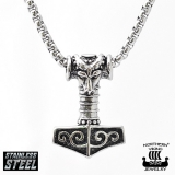 "Northern Viking Jewelry-Riipus ""Rams Head Thor's Hammer Mjolnir"""