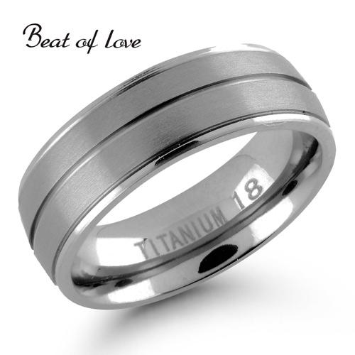 Beat of Love titaanisormus harjattu/kiiltävä 7mm (TI-183-7mm)