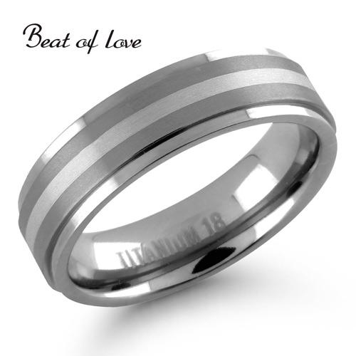 Beat of Love titaani-/hopeasormus harjattu 6mm (TI-187-6mm)