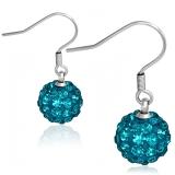 10 mm Stainless Steel Ball Shamballa Long Drop Hook Earrings Blue Zircon CZ