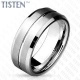 8 mm Matte Grooved Line Center with Beveled Edge Tisten Ring