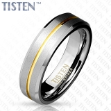 6 mm Matte Finish Gold IP Groove with Beveled Edge Tisten Ring