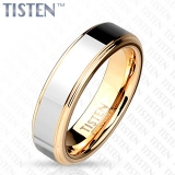 6 mm Two Tone Inner Rose Gold IP with Step Edges Tisten Ring