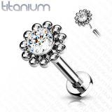 """Titaani Huulikoru 1,2 mm """"Push In Labret Flower Stud"""""""