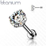 """Titaani Huulikoru 1,2 mm  """"Push in Labret with CZ Prong Set Top"""""""