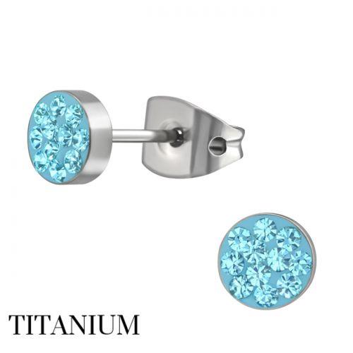 """Titaani Korvakorut """"Ear Studs with Aqua Crystal"""""""