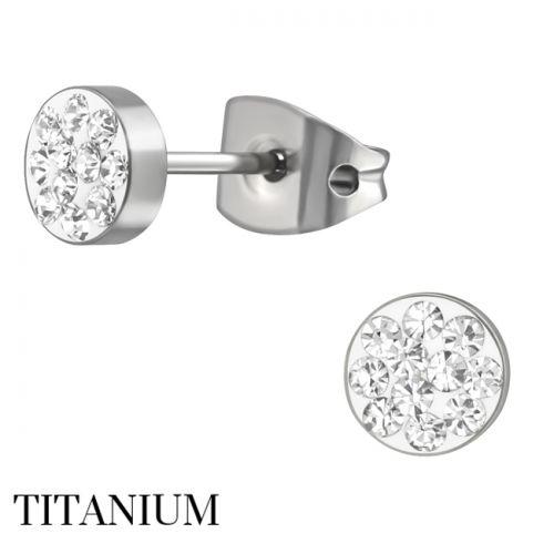 "Titaani Korvakorut ""Ear Studs with Clear Crystal"""