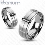 "Titaanisormus ""Brushed Cross Grooved Center Band Ring"""