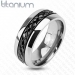 "Titaanisormus ""Diagonal Cut Pattern Black Centered Ring"""