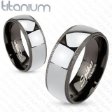 "Titaani Kihlasormus ""Black with Solid Titanium Center"""