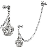316L Surgical Steel Chain Linked Dangle Royal Crown and Skull Cartilage/Tragus B
