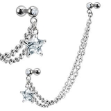 316L Surgical Steel Double Chain Linked Dangle CZ Star Cartilage/Tragus Barbell