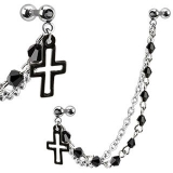316L Surgical Steel Double Beaded Chain Linked Dangle Cross Cartilage/Tragus Bar