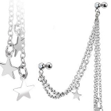 316L Surgical Steel Multi Chain Linked Dangle Stars Cartilage/Tragus Barbell