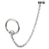 316L Surgical Steel Chain Linked Captive Bead Ring with Cartilage/Tragus Barbell
