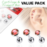 "3 Pcs Value Pack of Assorted 316L Tragus ""Red"""