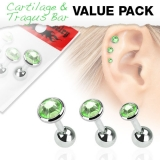 "3 Pcs Value Pack of Assorted 316L Tragus ""Green"""