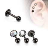 Flat Top Disc Gem Ion Plated Over 316L Surgical Steel Cartilage Barbell