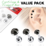 "3 Pcs Value Pack of Assorted 316L Tragus ""Musta"""