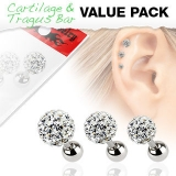 3 Pcs Value Pack of Assorted 316L Tragus Bar with Clear Ferido Ball
