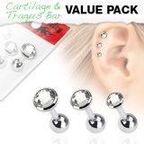 "3 Pcs Value Pack of Assorted 316L Tragus ""Kirkas"""