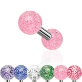 6 Pcs Value Pack of Assorted Surgical Steel Barbell with Ultra Glitter Acrylic Ball