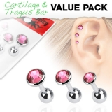 "3 Pcs Value Pack of Assorted 316L Tragus ""Pink"""