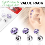 "3 Pcs Value Pack of Assorted 316L Tragus ""Tanzanite"""