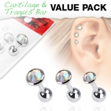 "3 Pcs Value Pack of Assorted 316L Tragus ""Kristalli"""