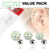 3 Pcs Value Pack of Assorted 316L Tragus Bar with Crystal Ferido Ball