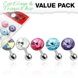 5 Pcs Value Pack of 316L Surgical Steel Pointed Crystal Cartilage/Tragus Barbell