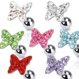 316L Surgical Steel Tragus/Cartilage Barbell with Multi Paved Butterfly Top