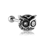 316L Surgical Steel Owl Jeweled Tragus Micro Barbell