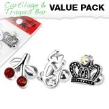 3 Pcs Value Pack of Assorted 316L Unique Shapes Cartilage