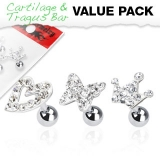 3 Pcs Value Pack of 316L Surgical Steel Tragus Barbell with Clear Multi Paved Top