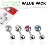4 Pcs Value Pack of Assorted 316L Surgical Steel Tragus Barbell