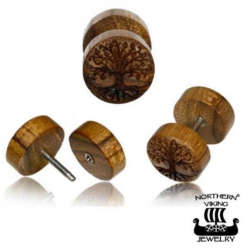 """Northern Viking Jewelry®-Korvakorut """"Teak Wood Tree Of Life"""""""