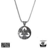"Northern Viking Jewelry-Riipus ""Silver Black Triquetra Cross"""