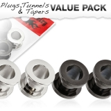 "Tunnelipaketti ""4 kpl 316L Stainless Steel Screw Fit Tunnel Plugs"""