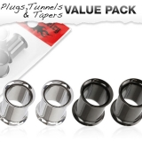 "Tunnelipaketti ""4 kpl 316L Stainless Steel Double Flared Plugs"""