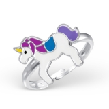 "Lasten Hopeasormus ""Unicorn Ring Adjustable with Epoxy"""