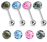 Camouflage Print Inlayed 316L Surgical Steel Barbell