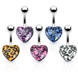 Leopard Print Acrylic Hearts 316L Surgical Steel Navel Ring