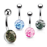 Camouflage Print Inlayed 316L Surgical Steel Navel Ring