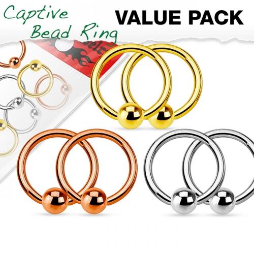 "Lävistyskorupaketti ""6 kpl Bcr Steel,Gold,Rosegold 1,6 mm"""