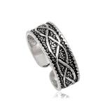 """Hopeinen Säädettävä Varvassormus """"925 Silver Oxide Celtic Rune"""""""